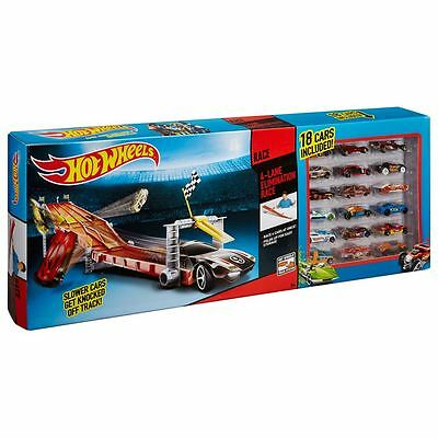 Hot Wheels 4 Lane Raceway with 18 Cars - THRILL OF HIGH SPEED RACING - brand New