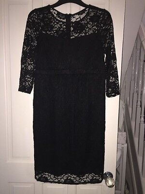 Red Herring Black Lace Maternity Dress Size 10