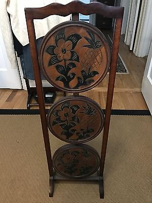 Vintage Mahogany  Hand Carved 3-Tier  Wood Hand Made/Carved Folding Cake Stand