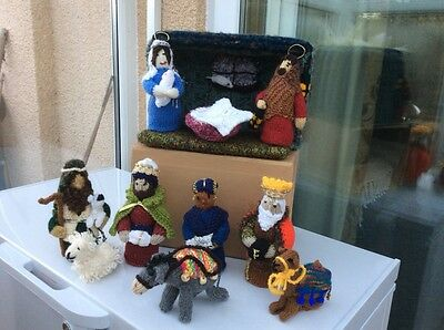 Unique Hand Knit Nativity Set With Stable