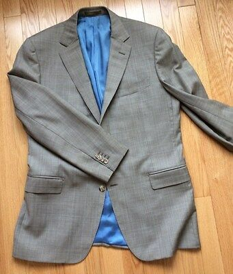 Suit Supply light grey/blue POW sportcoat jacket IMPERFECT 42 REGULAR pure wool
