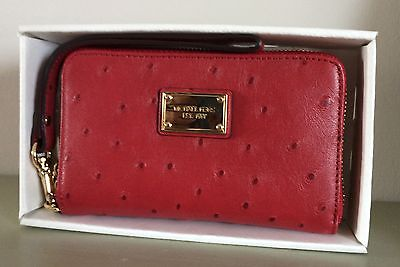 Michael Kors Essential Zip Wallet Leather Iphone 5 case Red Ostrich New