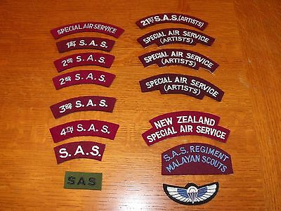 Authentic British Special Air Service Shoulder Titles and Wings Lot of 15