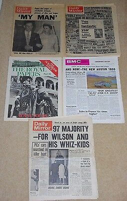 Newspapers from the 1960's - year tribute, royal family, adverts from the time