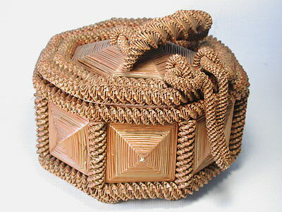 Antique Folk Art Sewing Basket Twisted Braided Colored Straw