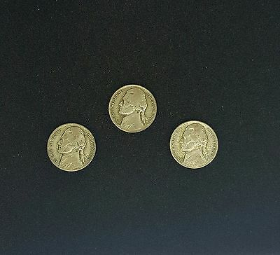 Wartime nickels (3), silver alloy, 1943P 1944P 1945P