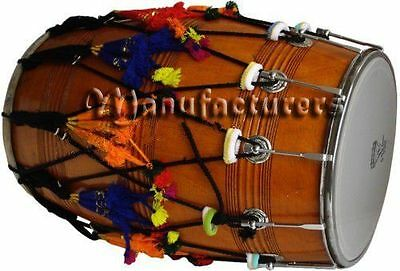 Dhol-Drums-Mango-Wood-Punjabi-Bhangra-With-Playing-Sticks-Decoration-Partbrown