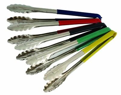 Colour Coded Stainless Steel Food Tongs Serving Tongs Choose from 5 Colours 9""