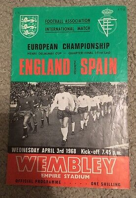 England International Football Programme v Spain 1968
