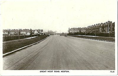Great West Road Heston Hounslow Middx. Real Photographic (Rp) Postcard No 8