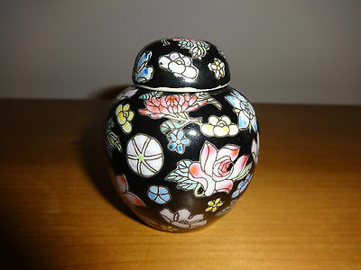 Gorgeous Chinese Famille Rose Ginger Pot In Black With Handpainted Flowers!