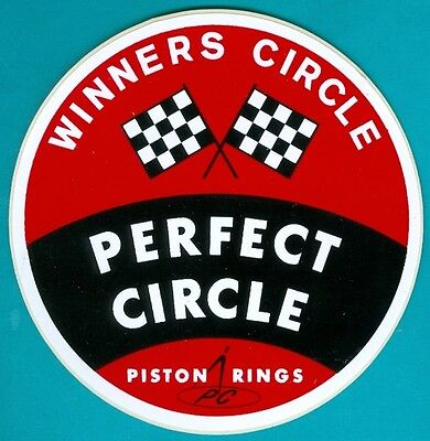 Sticker/Decal: PERFECT CIRCLE Piston Rings. c1970s. Indy 500. Stock Car Racing.