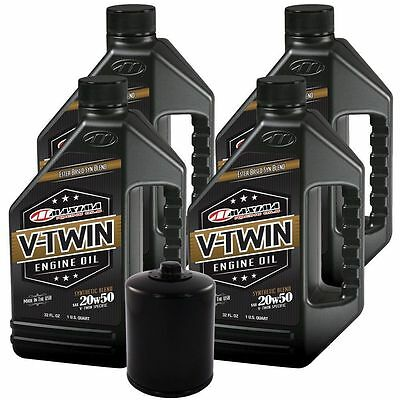 Harley Davidson Maxima Synthetic Blend 20W50 4 Quart Engine Oil Change Kit