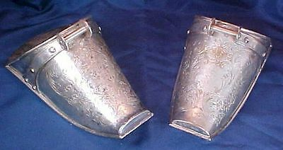 Antique Mexican Silver Metal Stirrups Carved Flowers Designs Eberle Maesa