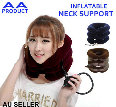 Inflatable Neck Support Stretcher Pain Relief Cervical Collar Traction Blue/Brwn