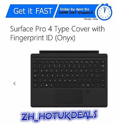 Microsoft Type Cover UK Keyboard Surface Pro 4 Fingerprint Touch ID RRP £134.99
