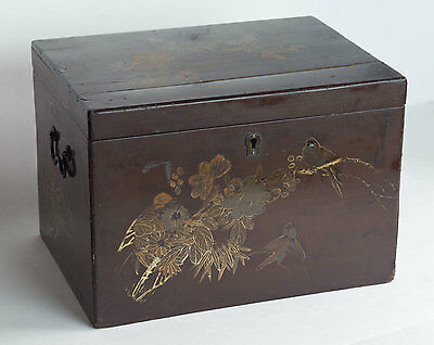 Antique Chinese Brown Lacquer Wooden Box Caddy Gilded Birds Flowers