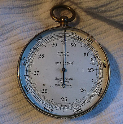 Antique Short & Mason Pocket Aneroid Mountain Barometer Altimeter Hiking