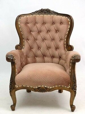 Antique French button back carved frame wing armchair for upholstery