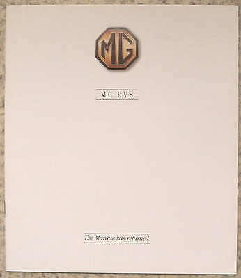 MG RV8 Sports Car Sales Brochure 1992 #4441