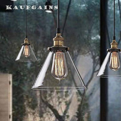 2x Glass Shade Vintage Industrial Ceiling Pendant Lighting Lamp Fitting Kitchen