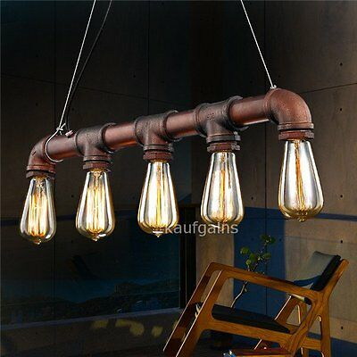 Industrial Vintage Pendant Water Pipe Steampunk 5 Head Roof Hanging Light Lamp