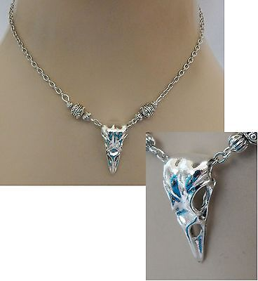 Silver Raven Skull Pendant Necklace Bird Jewelry Handmade NEW Adjustable Fashion