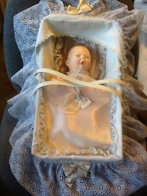 Horsman Vintage 14 inch Crying Baby Doll w/Carrier Bed