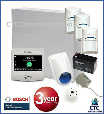 """Bosch Solution 3000 Alarm System with 3 x Gen 2 Quad Detectors+ 4"""" Touch Screen"""