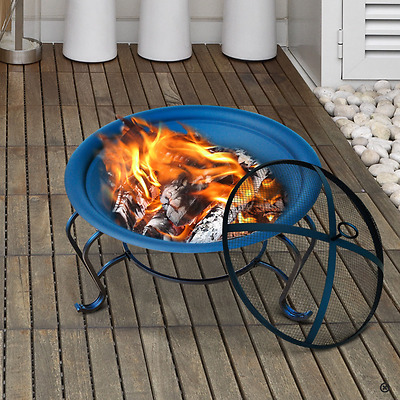 Round Steel Fire Pit Outdoor Fireplace Garden BBQ Stove Patio Heater Brazier New