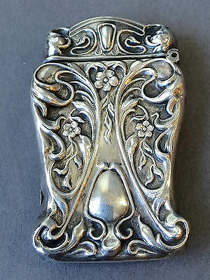 Antique Art Nouveau American Sterling Silver Vesta Match Safe Case Repousse