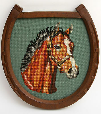 Finished Needlepoint Horse Head Horseshoe Wood Frame Bay Completed Picture Wall