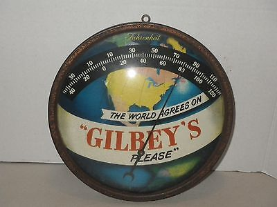 Vintage Gilbey's Please London Gin Fahrenheit Thermometer Advertising World Map