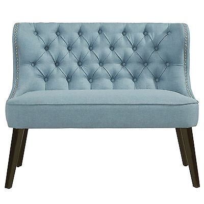 """Biscotti"" Collection Accent Double Bench in Blue/Grey by !nspire 401-188LB"