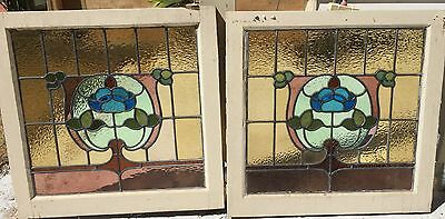 Stained Glass Leadlight Window pair 1