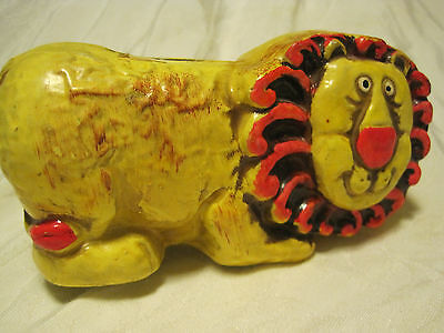 Vintage Paper Mache Lion -BRIGHT COLORED PIGGY BANK