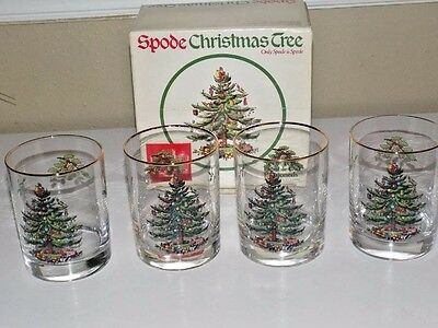 4 Spode Christmas Tree Set Double Old Fashioned Glasses in BOX  - Free Shipping