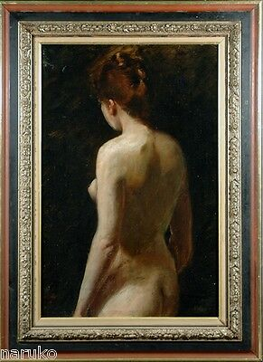 """Attractive Nude Woman W/ Back Exposed Large Painting Signed Miller O/c 30"""" X20"""""""