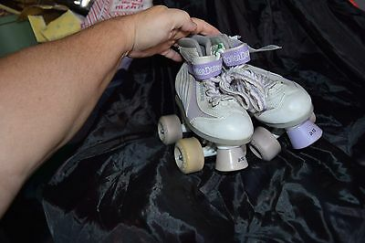girls roller derby roller skate shoes white and purple 12