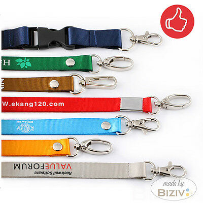 50 100 Custom Lanyards Personalised Printed Your LOGO & ID / Neck Lanyards