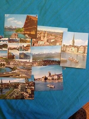 Lot of 8 Zurich switzerlan Colored Postcards Pictures 70's? 80's? Post Card Gift