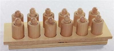 Montessori Sensorial Materials Learning Tools Wood Cylinder Set of 12 In Base