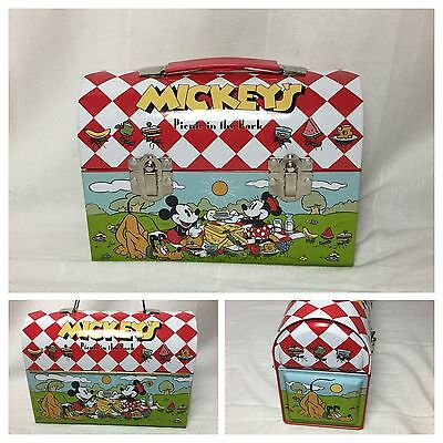0910117 Classic Mickey Mouse Vintage Metal Lunch Box Picnic in the Park