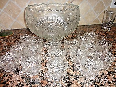 Antique Cut Crystal Glass Large Punch Bowl With 17 Cups