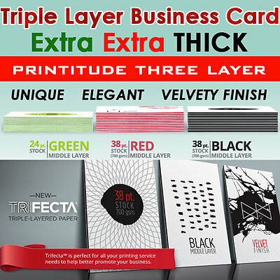 1000 THICK 38pt Triple Layer RED Center Trifecta FULL COLOR Business Card 2SIDED