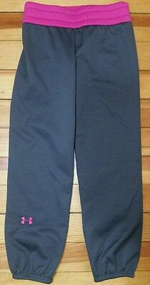 UNDER ARMOUR Gray Pink Athletic Running Pants Youth Girl's Medium