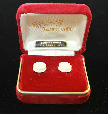 Vintage Ivory Color Carved White Rose Earrings by Karen Lynn New in Box
