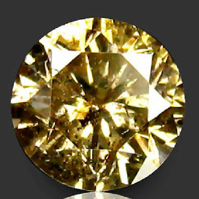 0.46 Ct Round Cut Yellow Diamond