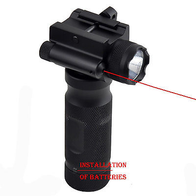 Rifle Vertical Foregrip Grip + 500 Lumen Flashlight and Red Laser Combo Sight
