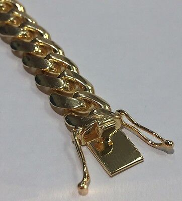 """925 Sterling Silver Yellow Gold Plated Miami Cuban Link Bracelet 8.5"""" 50 Grams"""